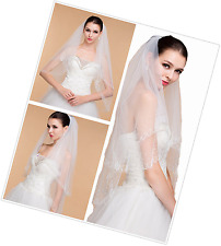 Passat 2 Tier Silver Sequin Beaded Chain Edge Cathedral Wedding Veil Ivory 121 (