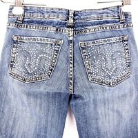 Cache Womens Blue Jeans Size 0 Boot Cut Rhinestone Studded