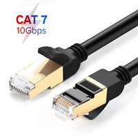 Black White Flat Cat 7 6FT 10FT Ethernet Lan RJ45 Patch Cable Cord Laptop 10Gbps