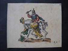 Col. Holzschnitt / Druck - Jost Ammon - MANN AUF PFERD - ca. 18x15cm - gravure
