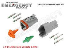 3-Pin DT Connectors Set Deutsch 14 16 AWG Nickel GA Kit Male Female Gray OEM