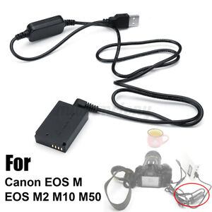 LP-E12 Power Charger Cable ACK-E12+DR-E12 Dummy Battery Fit For Canon EOS M2 M50