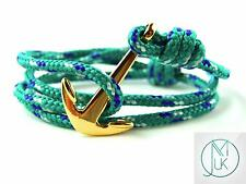 Stainless Steel Gold Anchor Bracelet Rope Paracord Green Wrap Around Adjustable