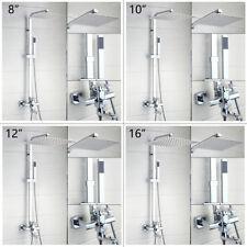"""Wall Mount Bathroom 8/10/12/16"""" Rainfall Shower Faucet Set Mixer Tap Hand Spray"""