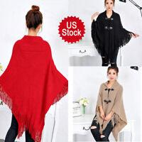 US Womens Fashion Tassel Poncho Cape Shawls Batwing Sweater Cloak Button Outwear