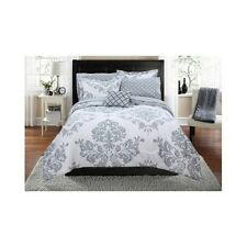 Damask Bedding Set Comforter Modern Reverse Gray White Bag Beautiful Shams Queen