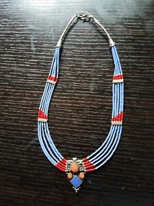 Lapiz And Coral  Silver Plated Necklace