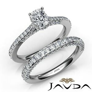 2.25ctw Pave Circa Halo Bridal Cushion Diamond Engagement Ring GIA F-VS1 W Gold