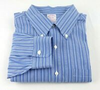 Brooks Brothers 1818 Dress Shirt 17 - 35 Blue Striped Non Iron Traditional Fit