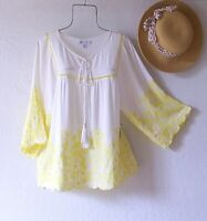 New~White Yellow Embroidered Peasant Blouse Shirt Spring Boho Top~Size Large L