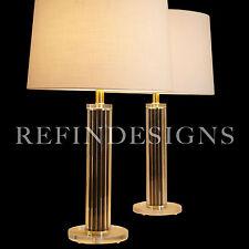 PAIR HOLLYWOOD REGENCY STREAMLINE MODERN LUCITE COLUMN TABLE LAMPS KARL SPRINGER