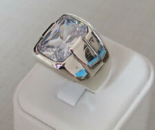 Handmade White Zircon Stone 925 Sterling Silver Men's Ring D92