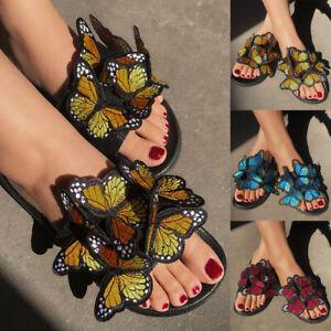 Women's Summer Beach Mules Slippers Flat Shoes Butterfly Slip On Sliders Sandals