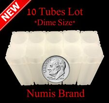 10 Numis Square Coin Tubes For Us Dimes Stackable Safe Storage Durable Great Lid
