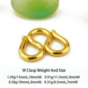Real 24k Yellow Gold S Shape Clasp With Circle Can Suit For Necklace Pure Chain