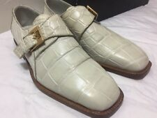 FENNIX ITALY Men's Genuine Alligator CREAM Beige Dress Church Shoes size 8.5