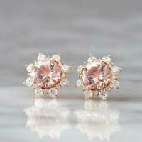 4.00 Ct Round Cut Peach Morganite Halo Stud Women's Earrings 14K Rose Gold Over
