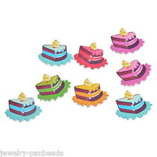 F1: 30 Holzknöpfe Wood Buttons Kuchen Kinderknöpfe Nähen Basteln Knopf 3x2.6cm