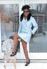 Mint Designer Baby Blue leather & Black fox Fur coat Jacket stroller S-M 0-6/8