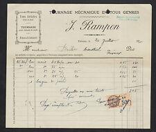 "TREVOUX (01) MENUISERIE / TOURNAGE pour CHAISES & MEUBLES ""J. RAMPON"" en 1930"