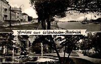 Wiesbaden-Biebrich 1960 Mehrbildkarte Schloss Fluß Rhein Schiff Friedensanlage