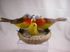 Closeout Birds and Nest  w/chicks Set Feather Friend Last Stock Home Decor #B917