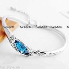 Beautiful Blue Tear Crystal Diamond Bracelet Bangle - Gift Present for her Girl