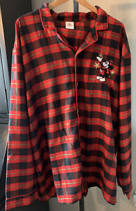 Disney Store Mickey Mouse Mens 2XL Red Plaid Christmas Button Down Pajama Shirt