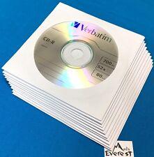 10 pcs Verbatim CD-R 52X Logo Blank Recordable Disc Media 80Min In Paper Sleeves