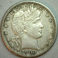 1900 S Silver Barber Quarter 25c US Type Coin XF Extra Fine K213