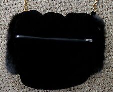 "NWT Black Velvet ""Barrel"" Style Muff/Purse with Black Mink Fur Trim"