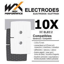 10 Electrodos Compatibles RECTANGULARES SNAP 110x71mm conectores 2 snaps 3,5 mm