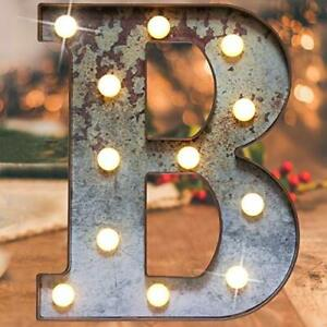 Light Up Industrial LED Marquee Lights Iron Vintage Alphabet (Rusty Letter B)