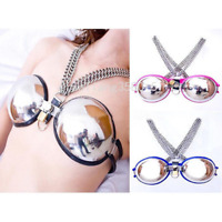 New Female Stainless Steel Bra Chastity Belt Device Adjustable Cage Harness