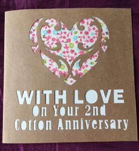 Handmade Paper Cut 2nd Cotton Wedding Anniversary Card. 100% Cotton heart.