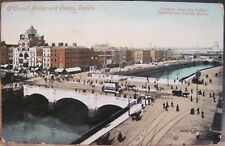 Irish Postcard O'CONNELL BRIDGE & QUAYS River Liffey Dublin Ireland 1910 Tennis