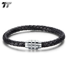 TT Black Leather With Stainless Steel Crystal Magnet Buckle Bracelet (BR200) NEW
