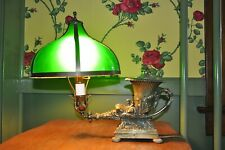 UNIQUE SOLID BRASS TABLE LAMP with DOMED GREEN PANELED SHADE w/ NEW WIRING.