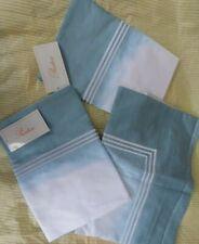 Pratesi 3 pillow case sham PAIR & Euro square angel skin cotton BLUE ombre NEW