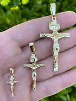 14k Gold Over Real Solid 925 Silver Cross Jesus Piece Crucifix Pendant Necklace