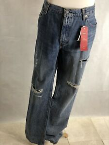 NWT Levi's 512 Slim Taper in Community Garden Patched Warp Stretch Jeans 38 x 36