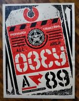 Shepard Fairey Obey Giant LUGGAGE TAG 2002 RARE Signed Numbered Screen Print