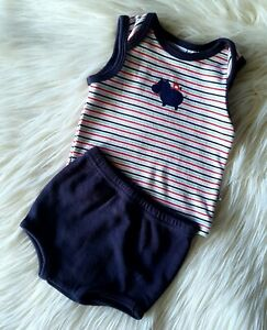 PAPOOSE LAYETTE - Size 000 baby boy striped summer outfit/set