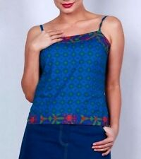 Size 12/14 L BOOM SHANKAR Cotton Blue Red Star Print Cami Singlet Top drawstring