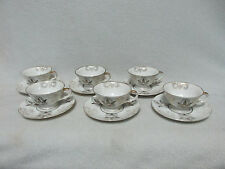 Occupied Japan Set of 6 Demitasse Handpainted Gold White Tea Coffee Cups Saucers