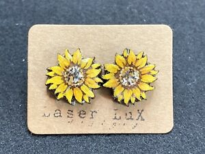 Sunflower Earrings - Natural Basswood - Hypoallergenic Titanium Stud