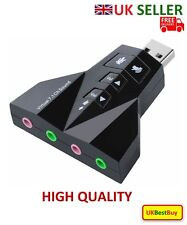 New Virtual 7.1 CH Channel USB 2.0 3D Audio Sound Card Adapter Mic Speaker - UK