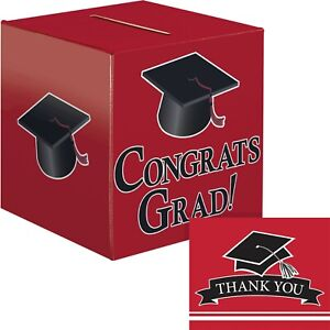 Red Graduation Card Box and Thank You Card Kit