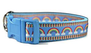 Rainbows Clouds Baby Blue Adjustable Handmade Dog Collar Girl Medium Large