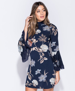 Ladies Parisian Navy and Floral High Neck Dress Flared Sleeve Party Holiday